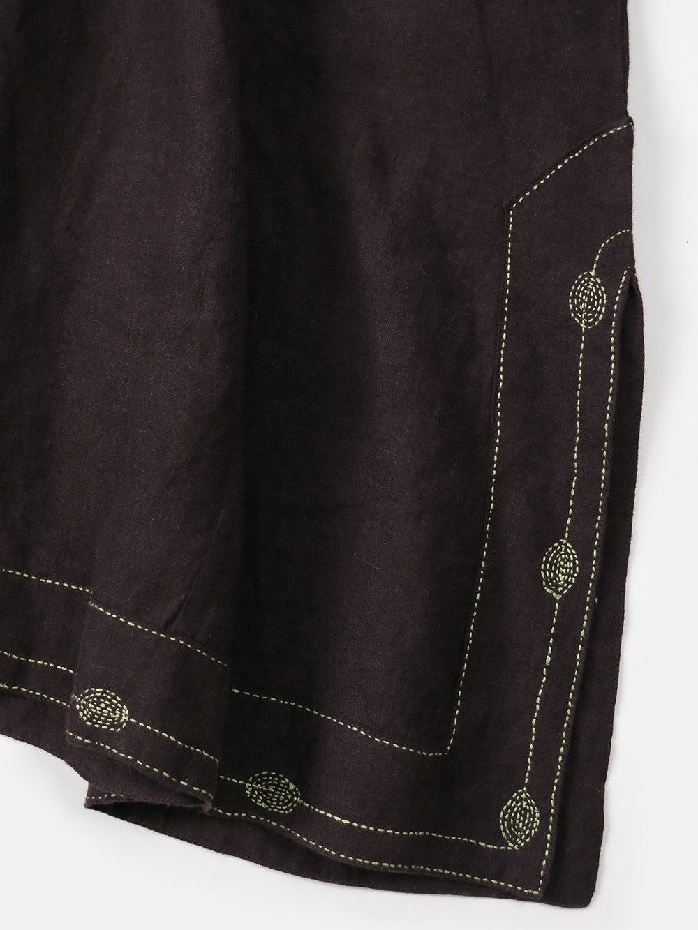 rekha caftan in hand embroidered plum linen