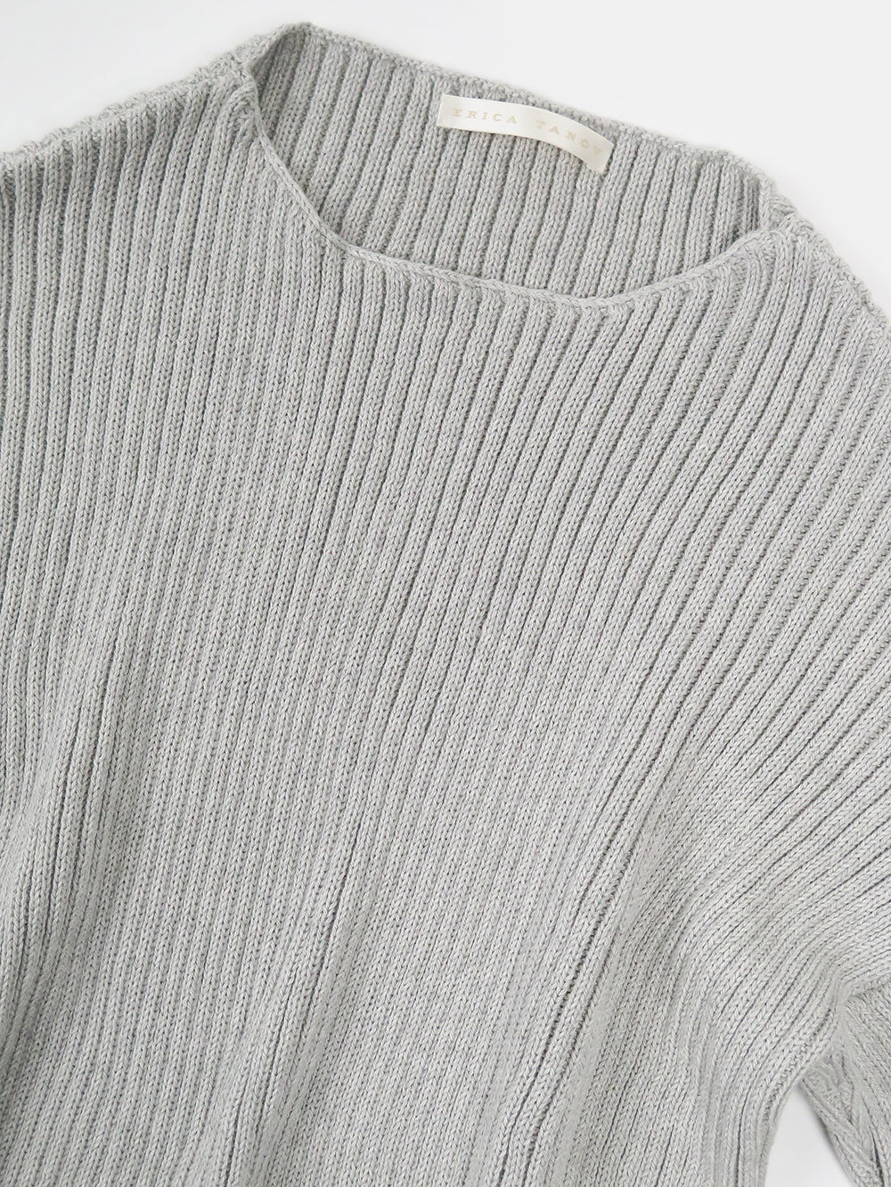 ribbed cotton pullover in light grey