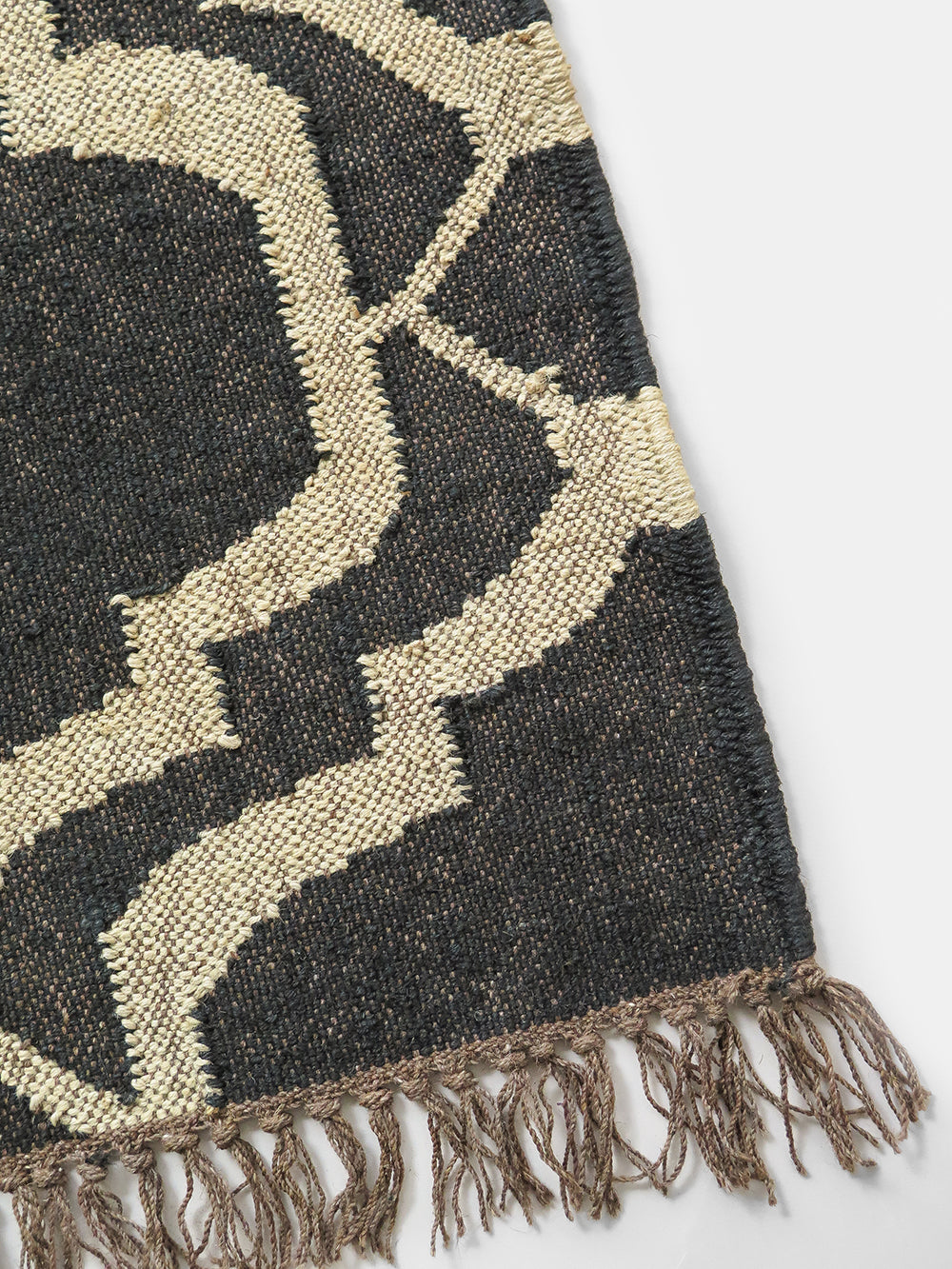 key wool + jute rug in black