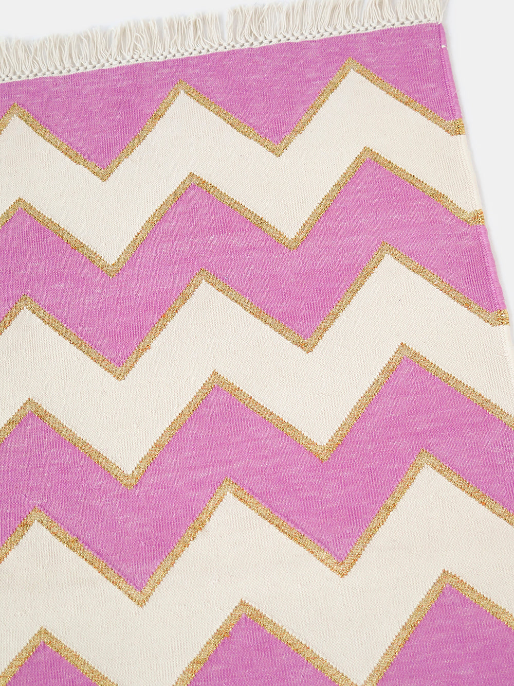 panja wave rug in fuchsia + gold