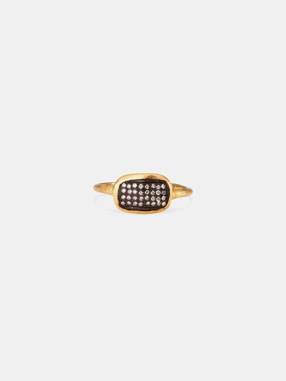 satomi 18k yellow gold ring with oxidized silver + diamonds