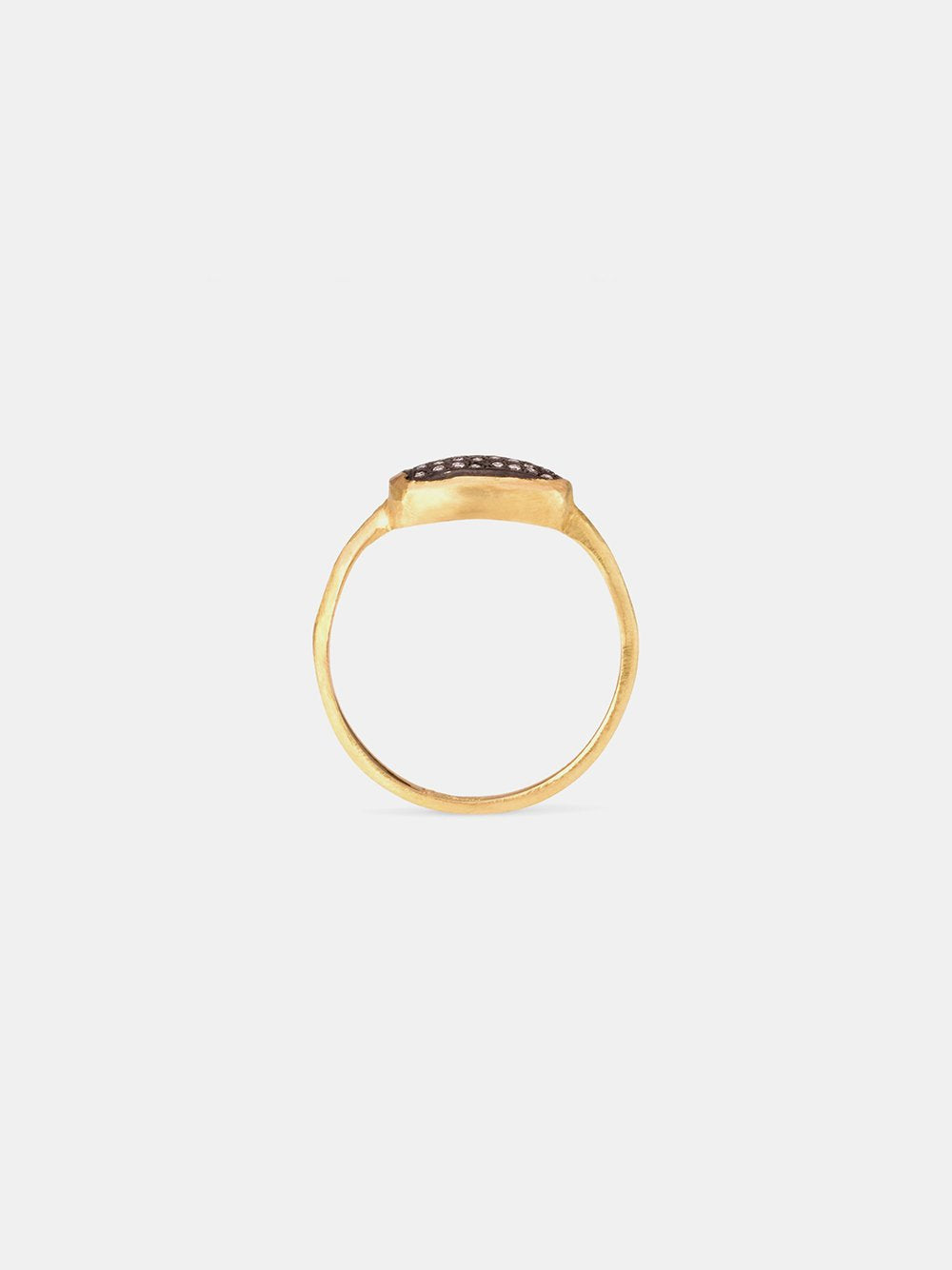satomi kawakita 18k yellow gold ring with oxidized silver + diamonds