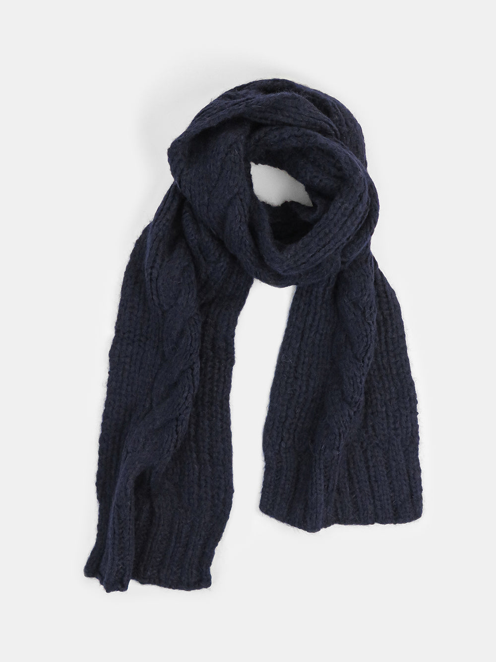 cable scarf in navy
