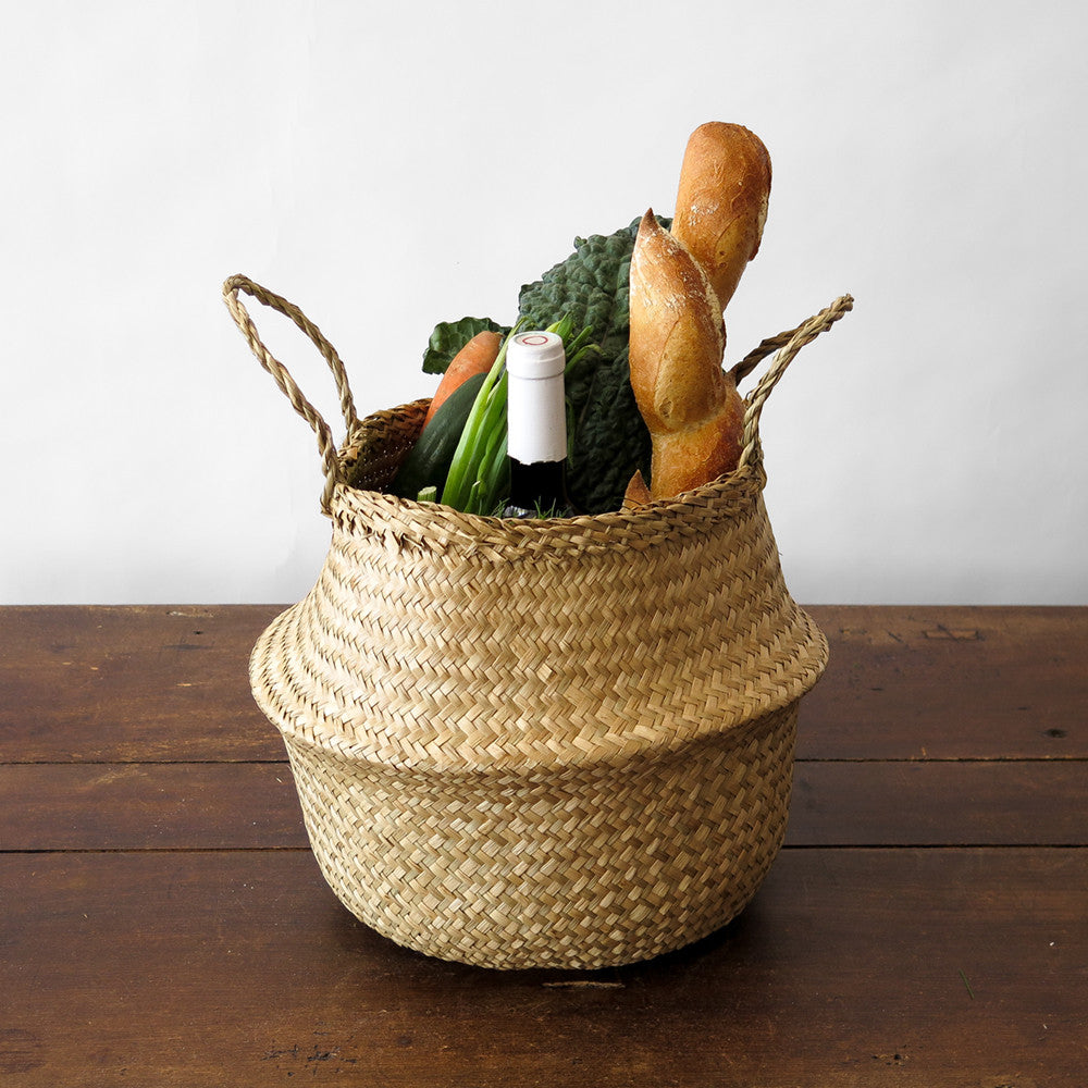 small convertible seagrass basket