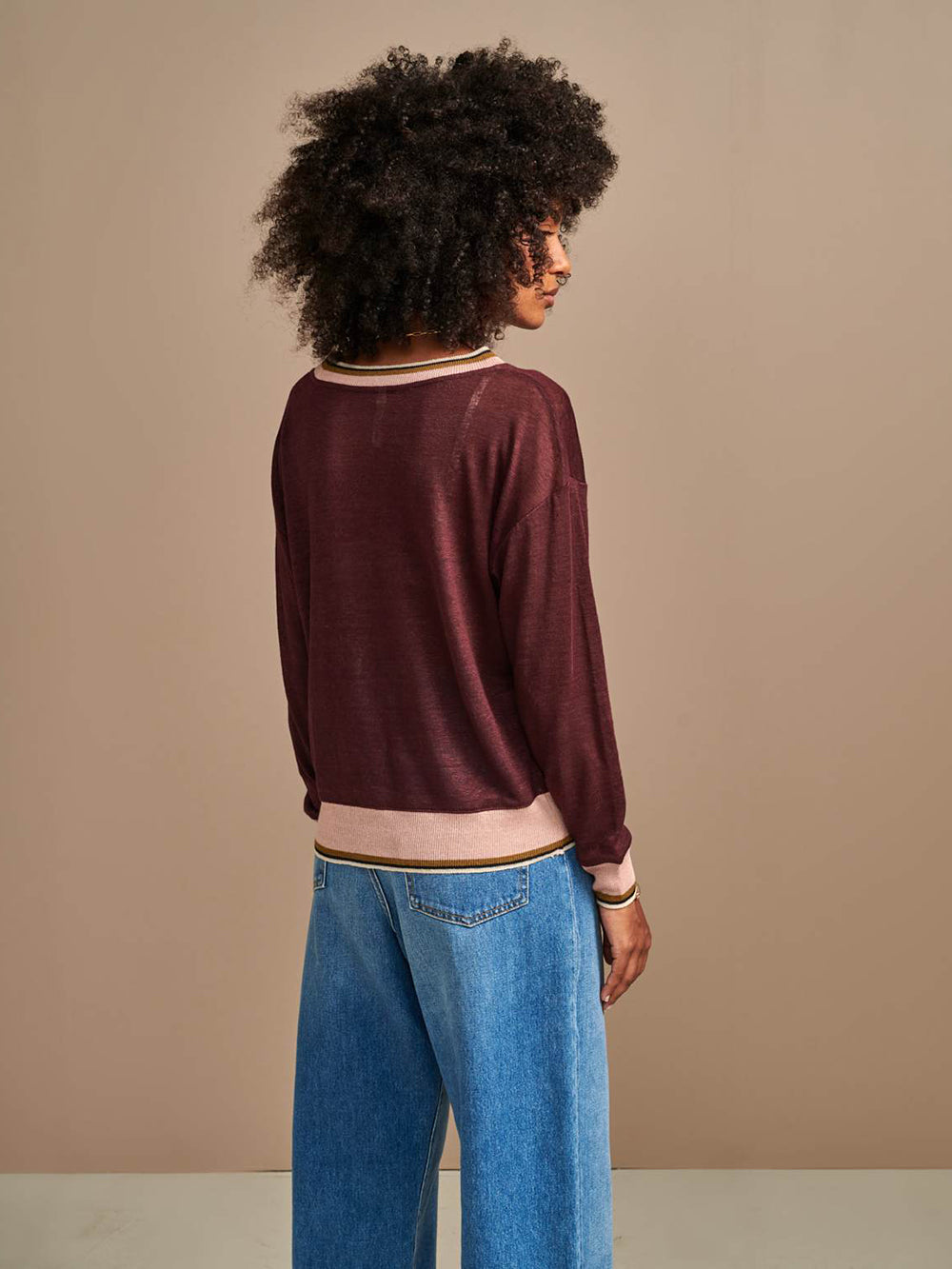 bellerose senia t-shirt in burgundy