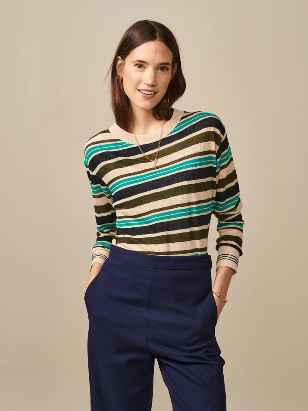 bellerose senia t-shirt in stripe a