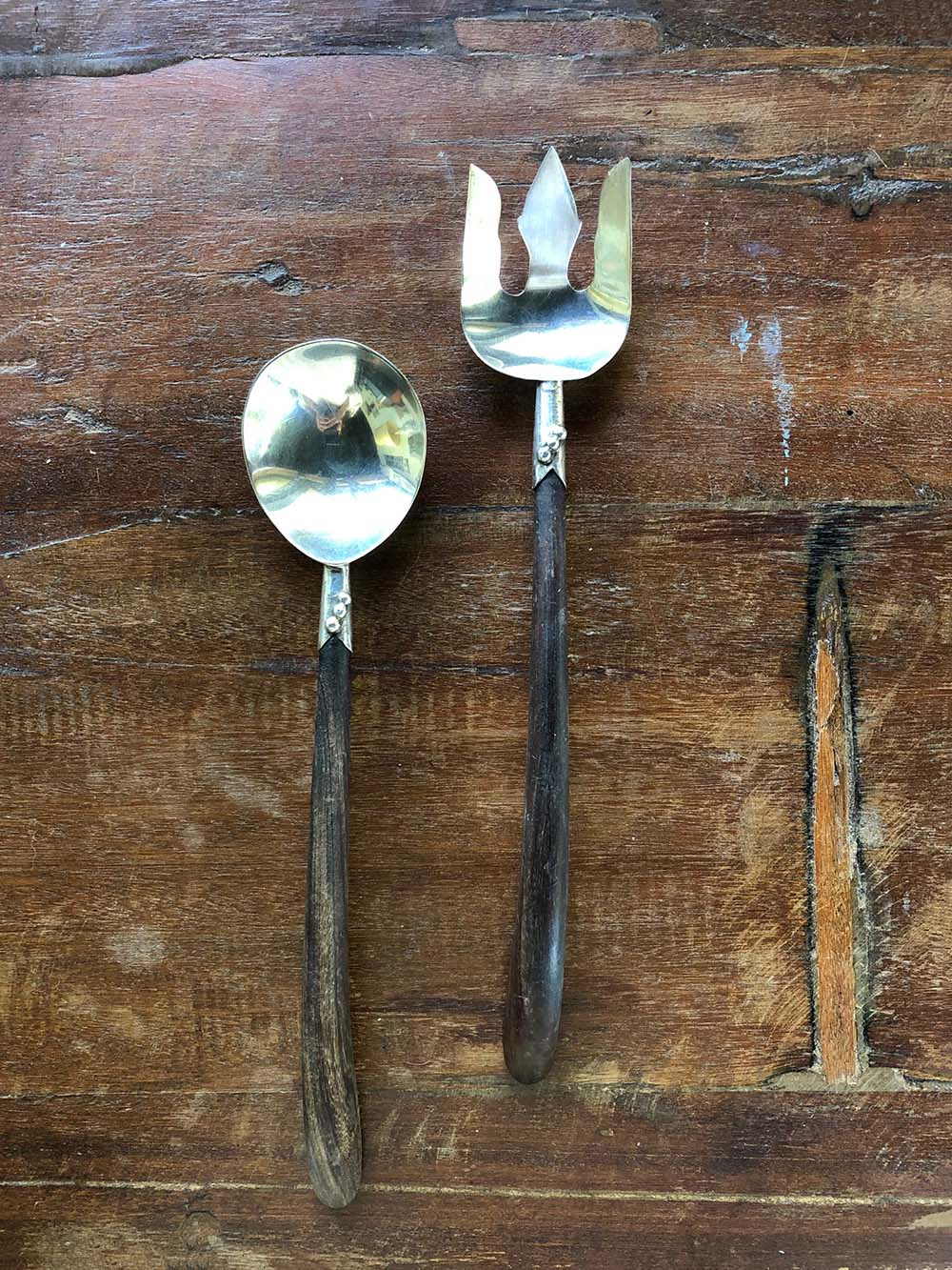 mexican silver + wood serving utensils