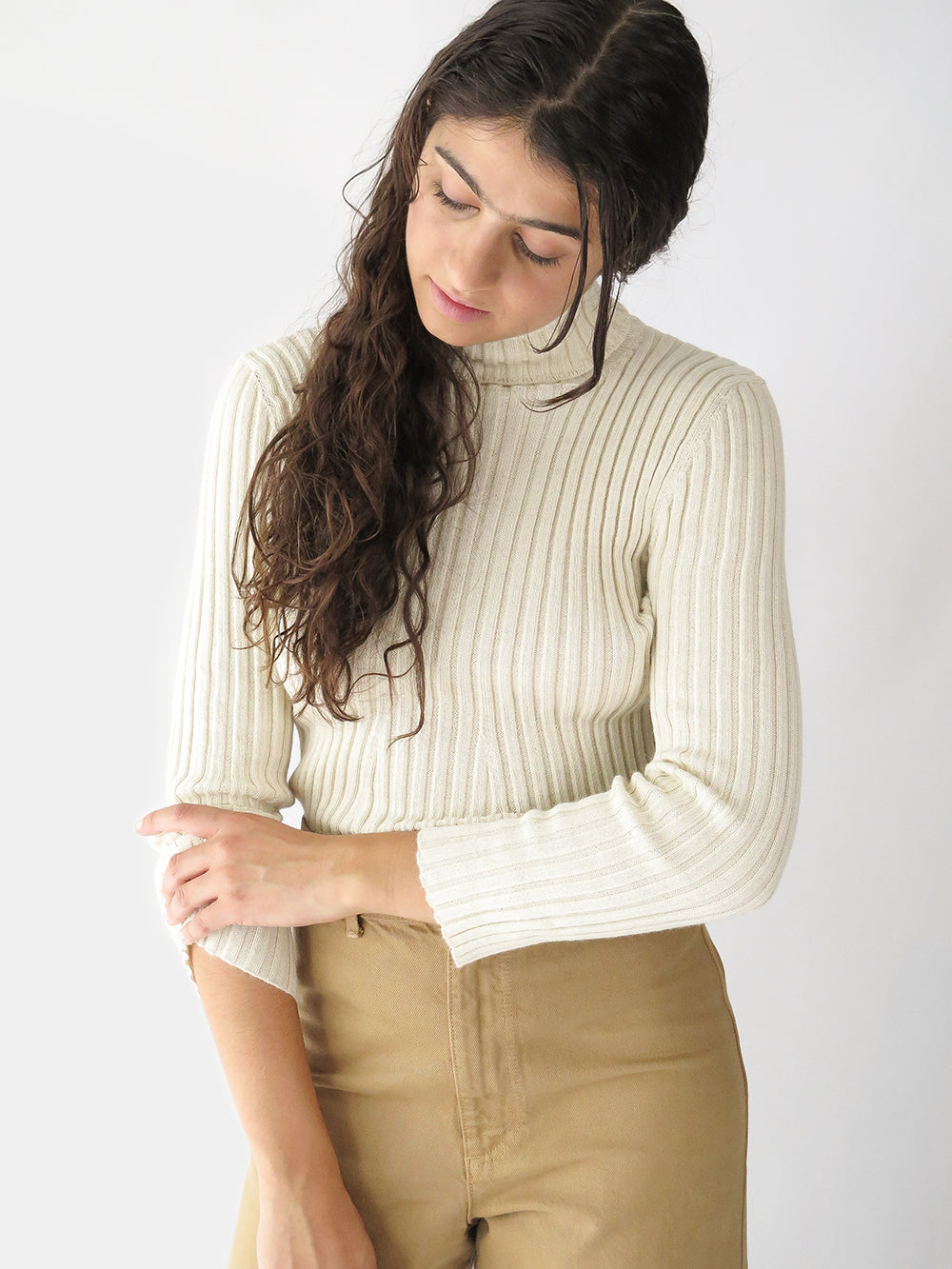shaina mote isla turtleneck in cream