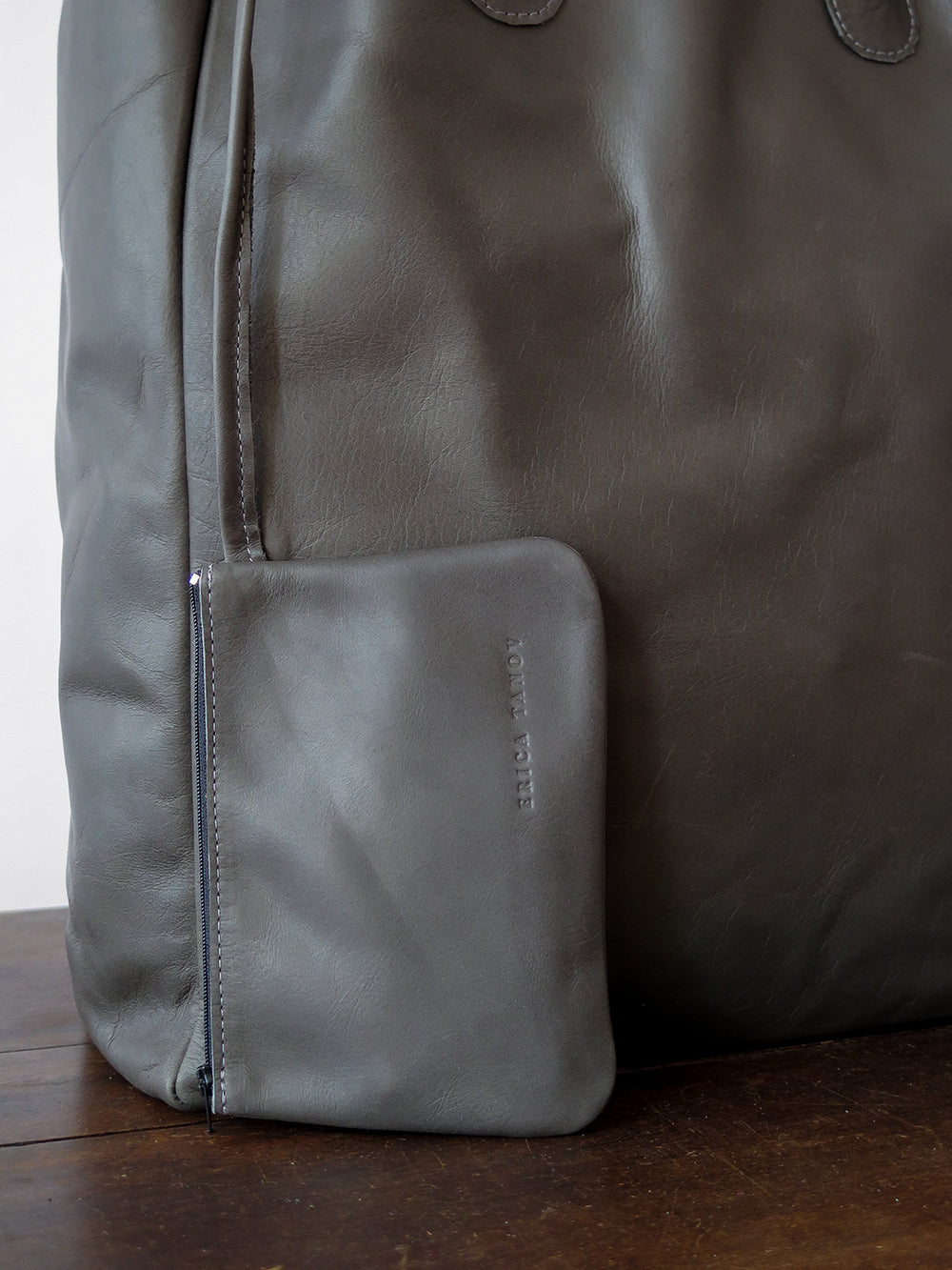 leather shopping tote in dark grey