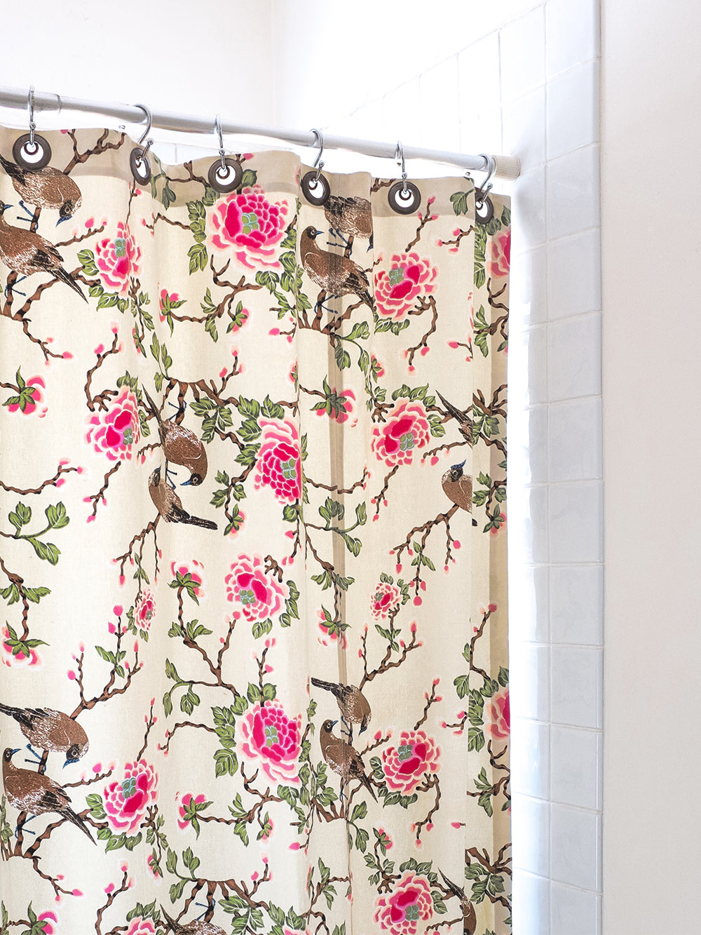 lovebird shower curtain in natural