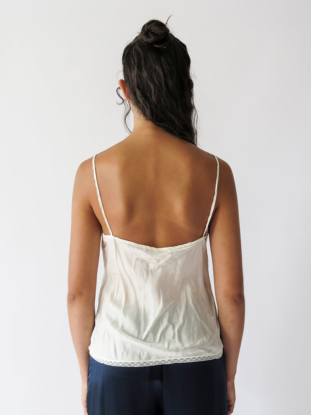 bias-cut silk camisole with french lace hem