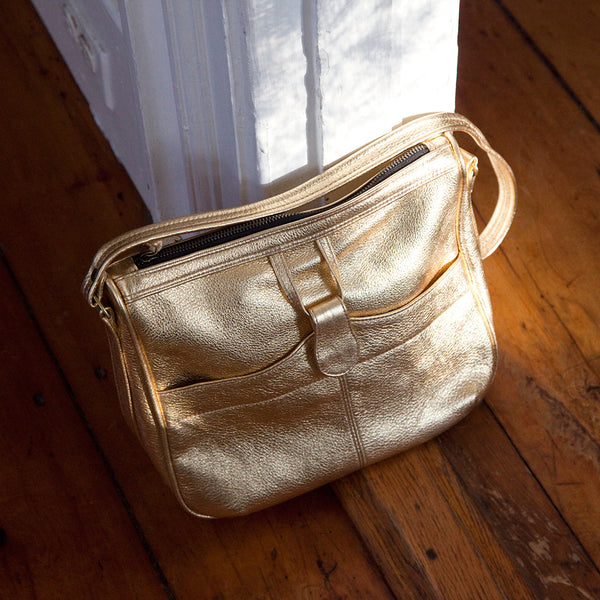 metallic leather shoulder bag