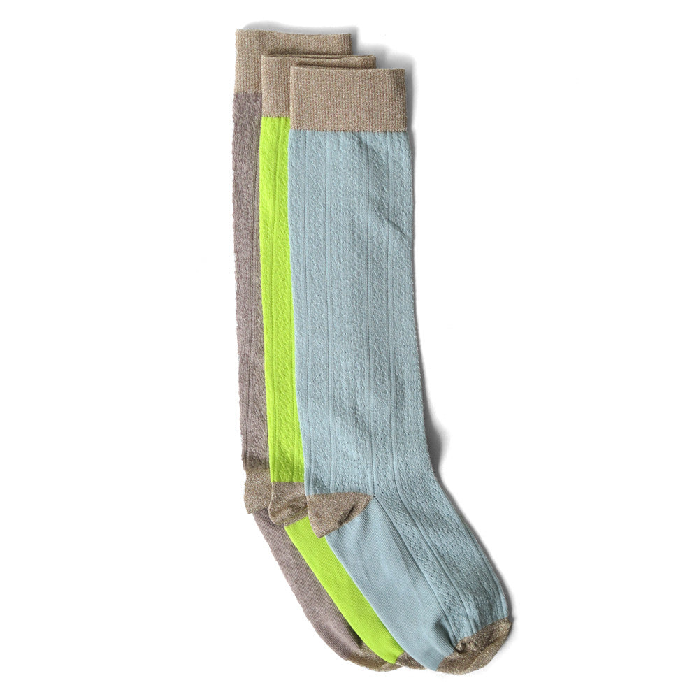 metallic pointelle socks