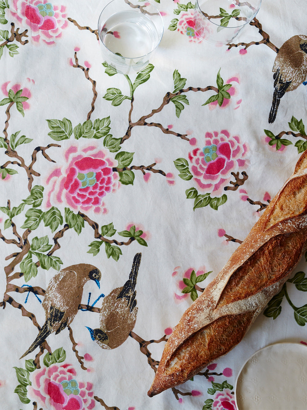 lovebird tablecloth in natural