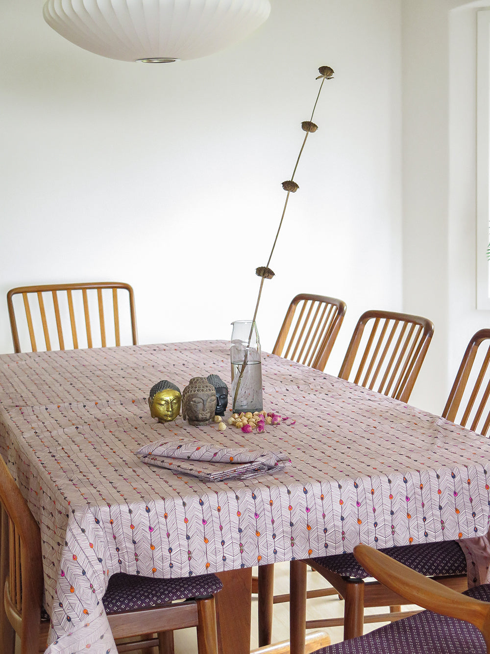 tablecloth in peacock stripe