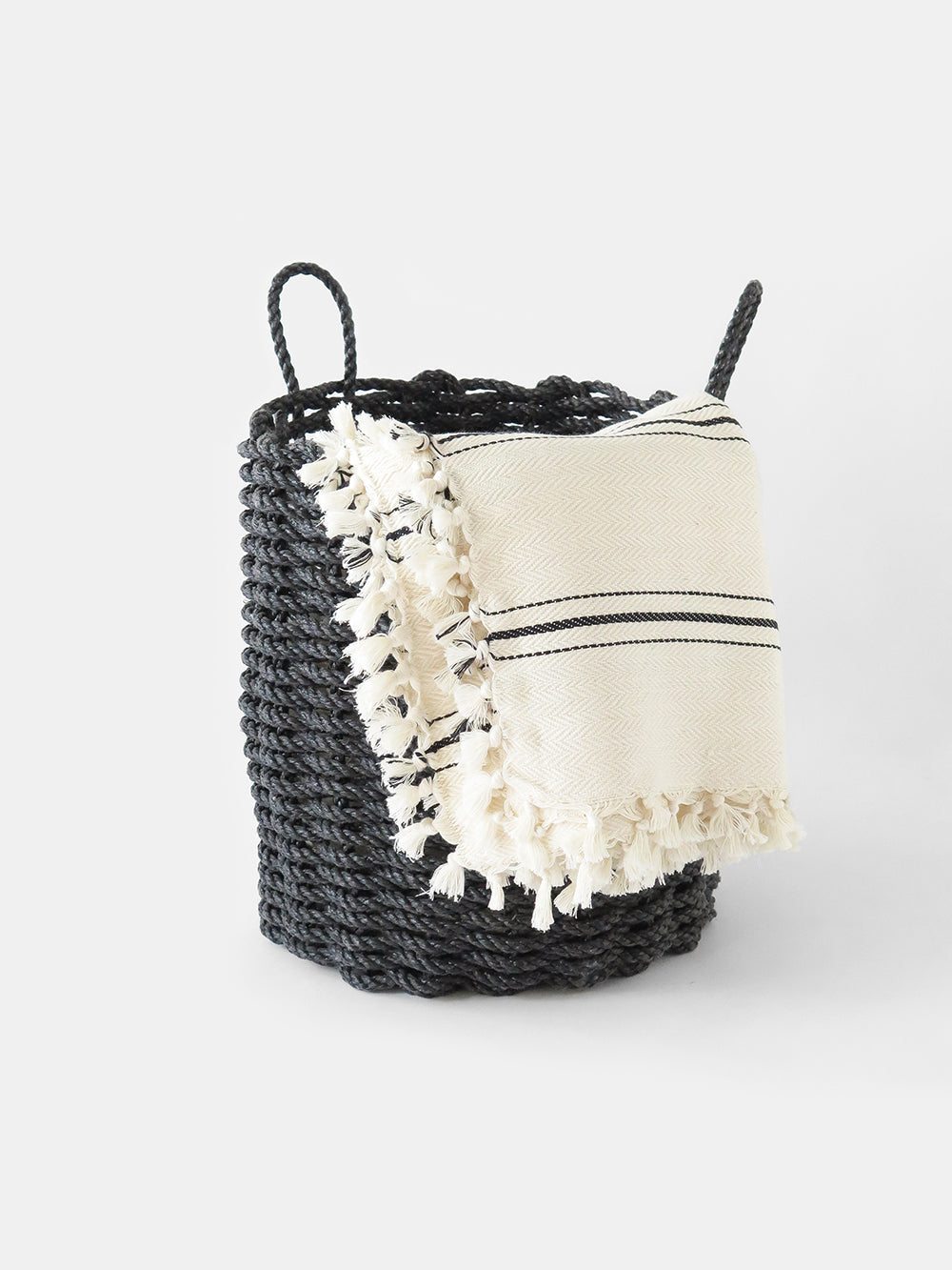 the rope co. tall woven basket in charcoal