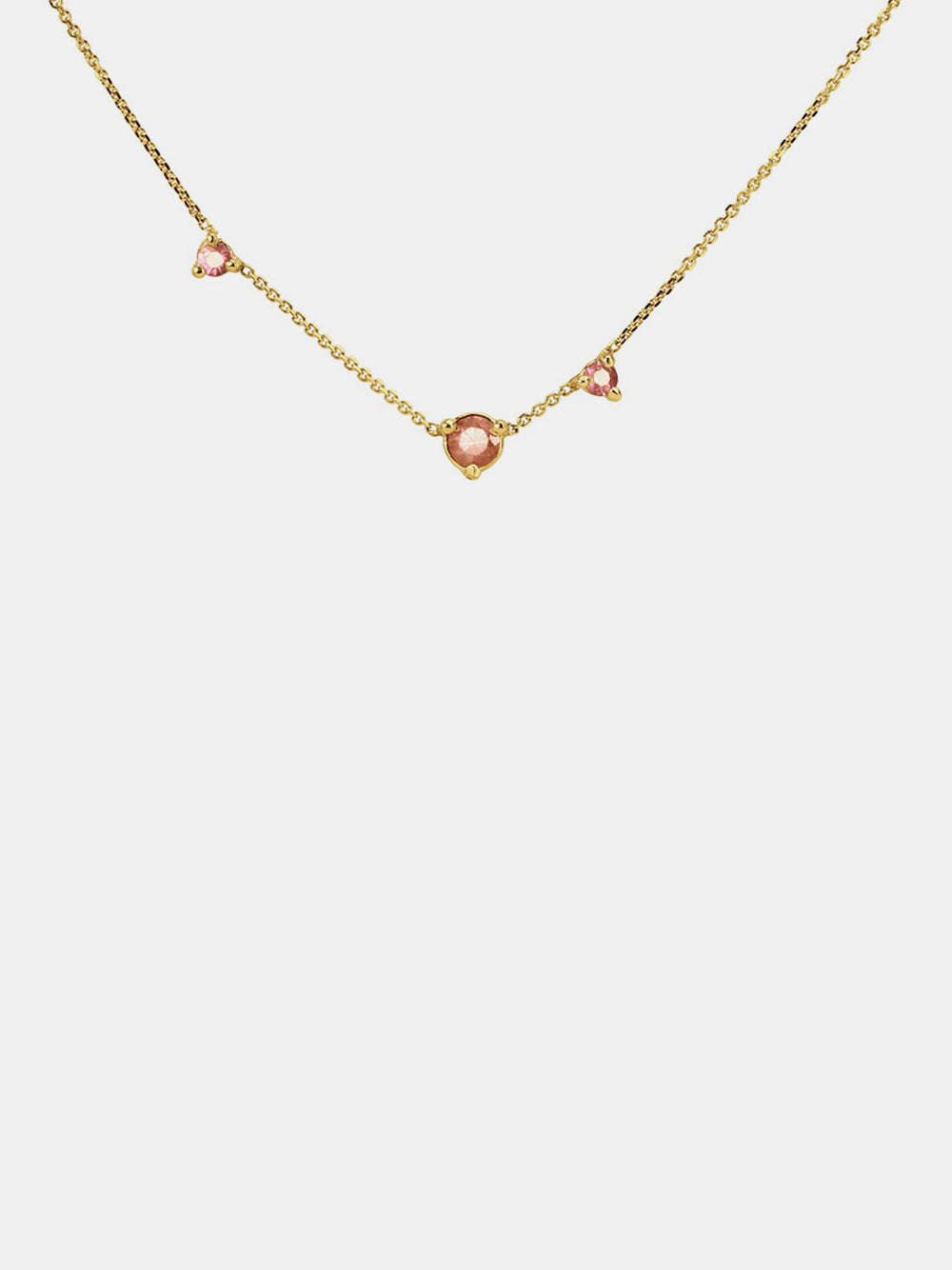 wwake pink tourmaline three step necklace