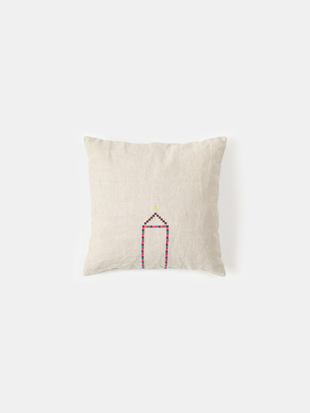 throw pillow in embroidered natural linen