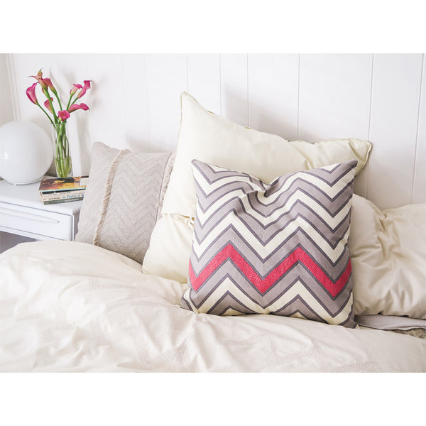 embroidered zigzag throw pillow