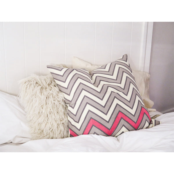 embroidered zigzag euro throw pillow