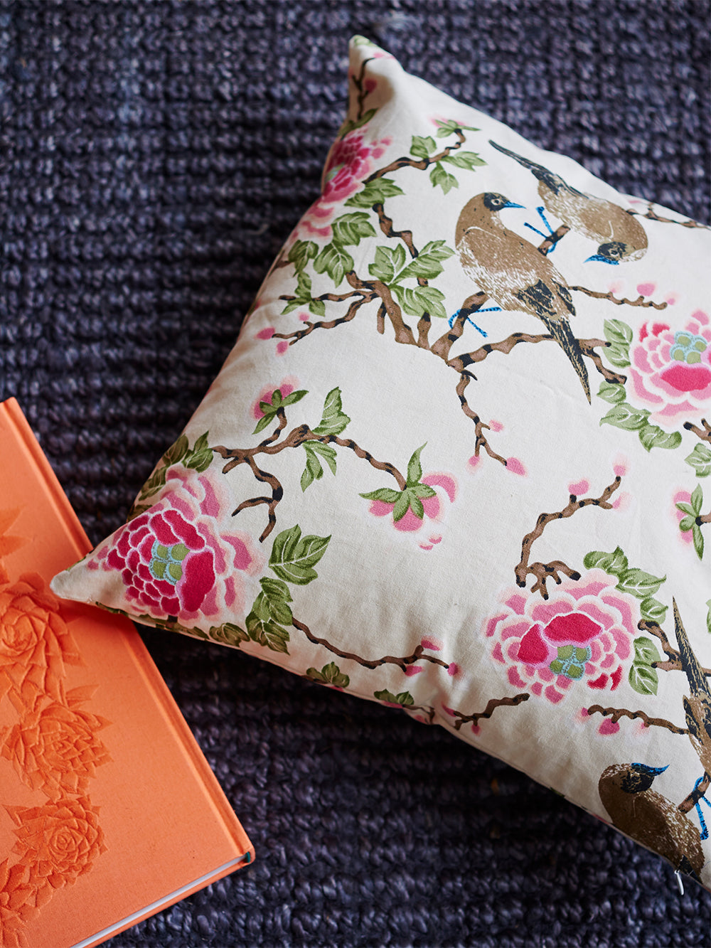 lovebird throw pillow in natural