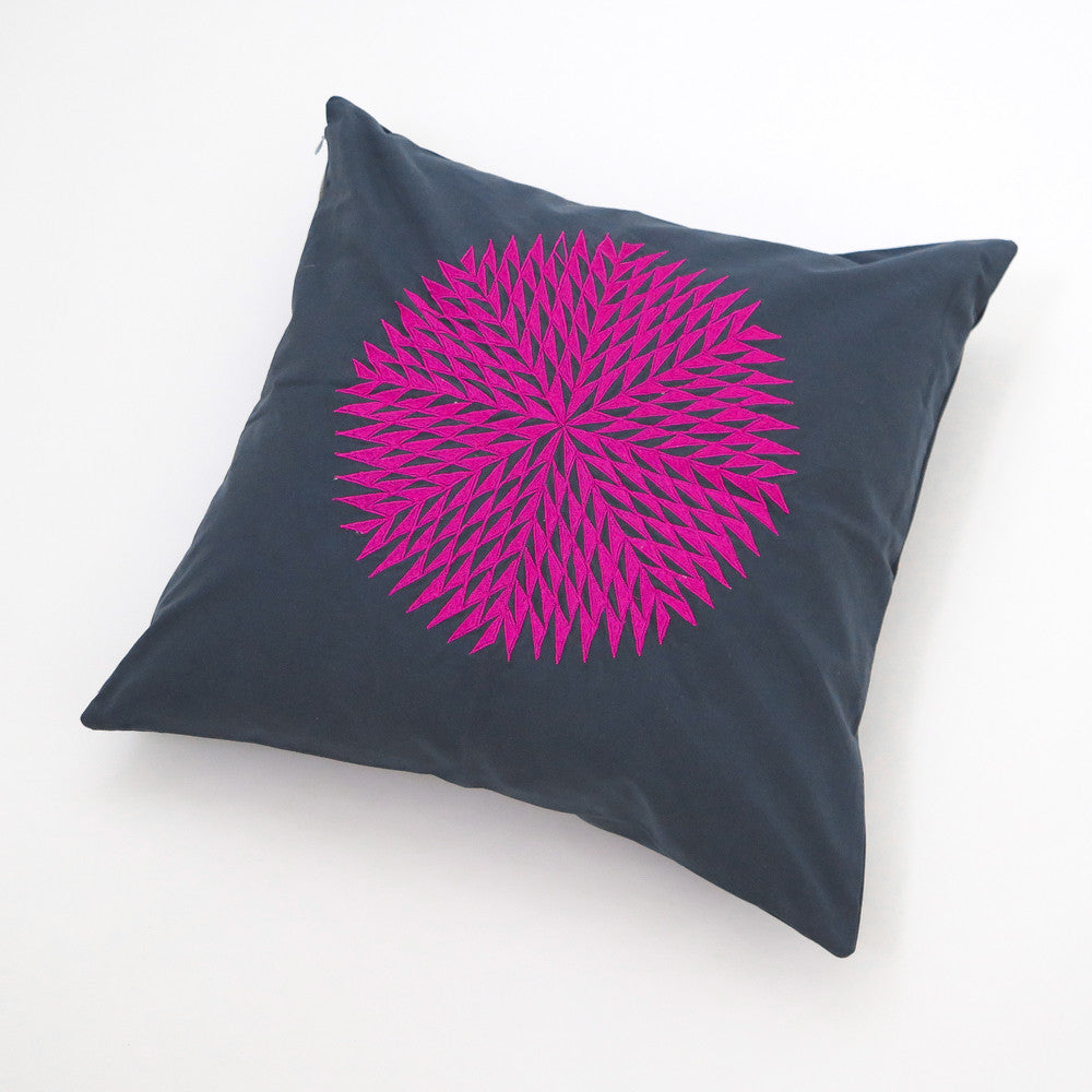 embroidered dahlia pillow