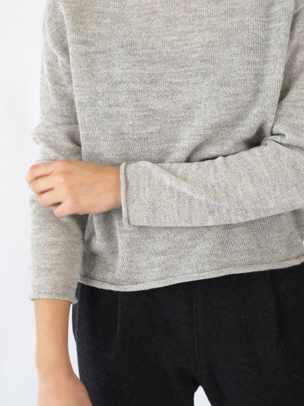 turtleneck sweater in light grey