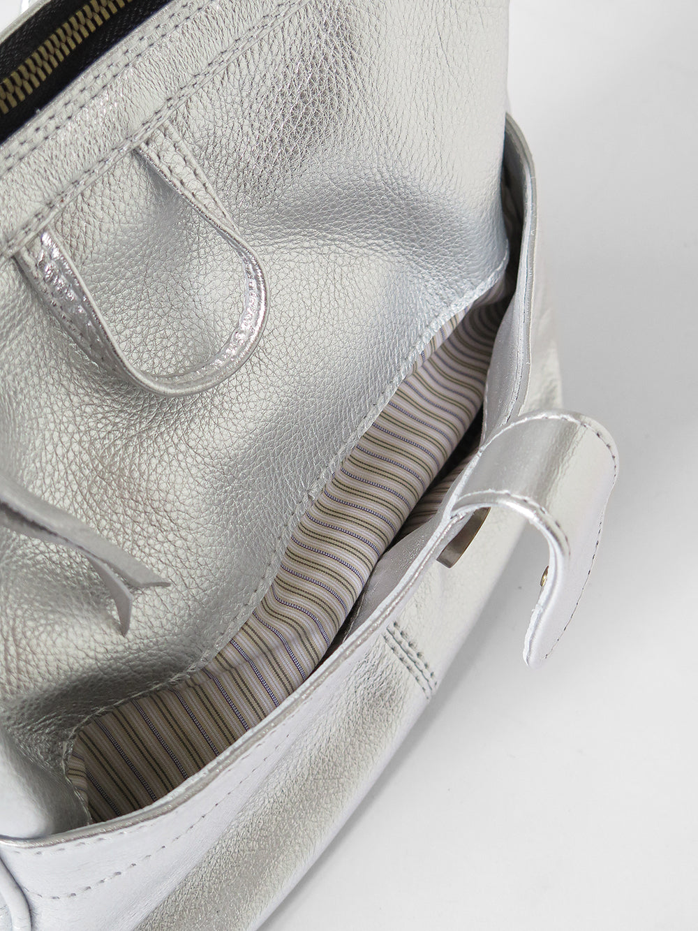 metallic leather shoulder bag in silver