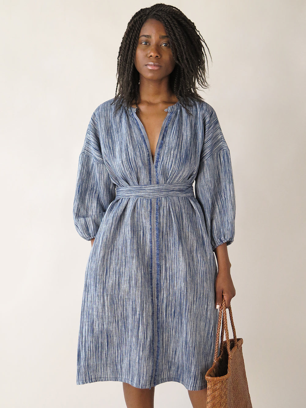tynan dress in indigo sketch stripe