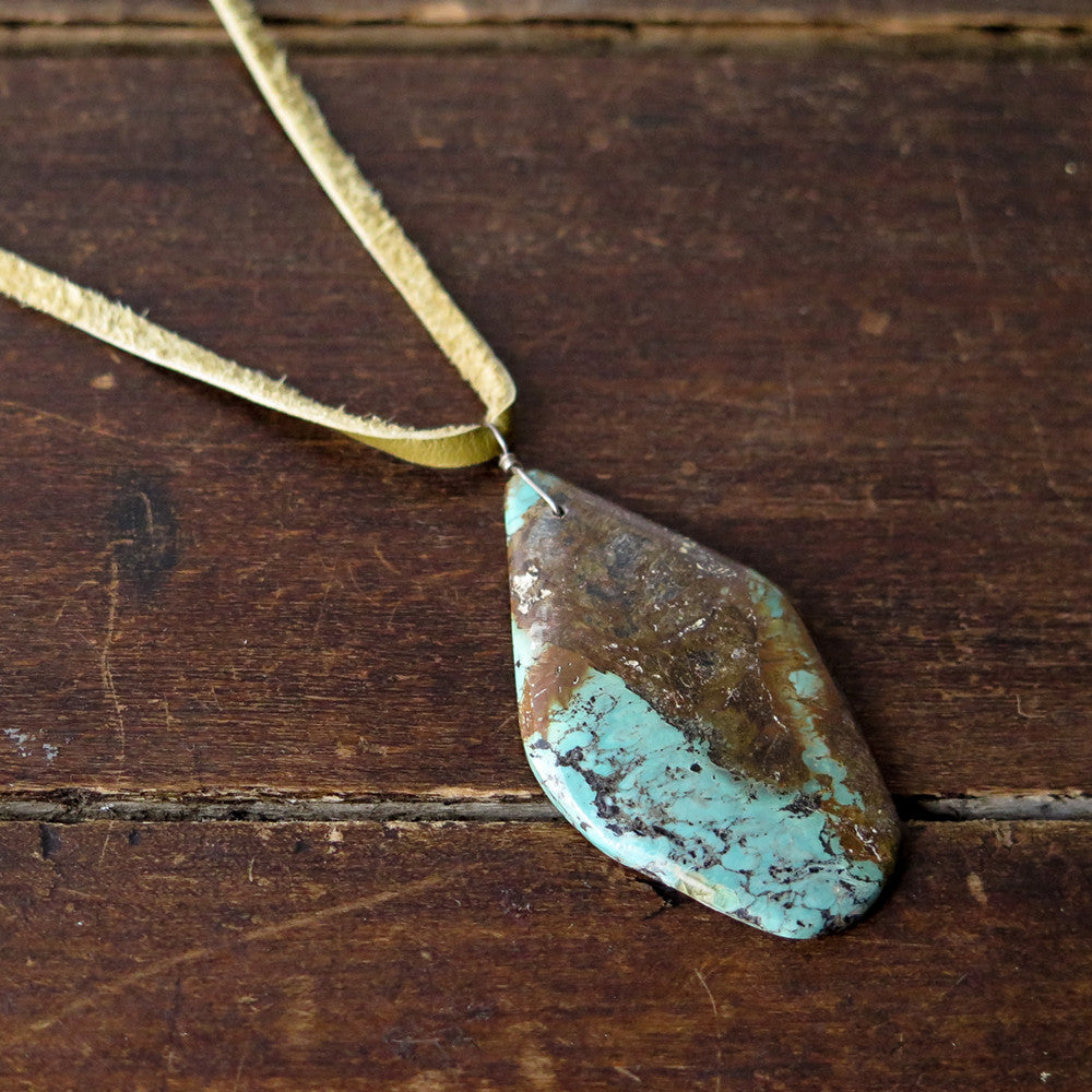 turquoise + leather necklace