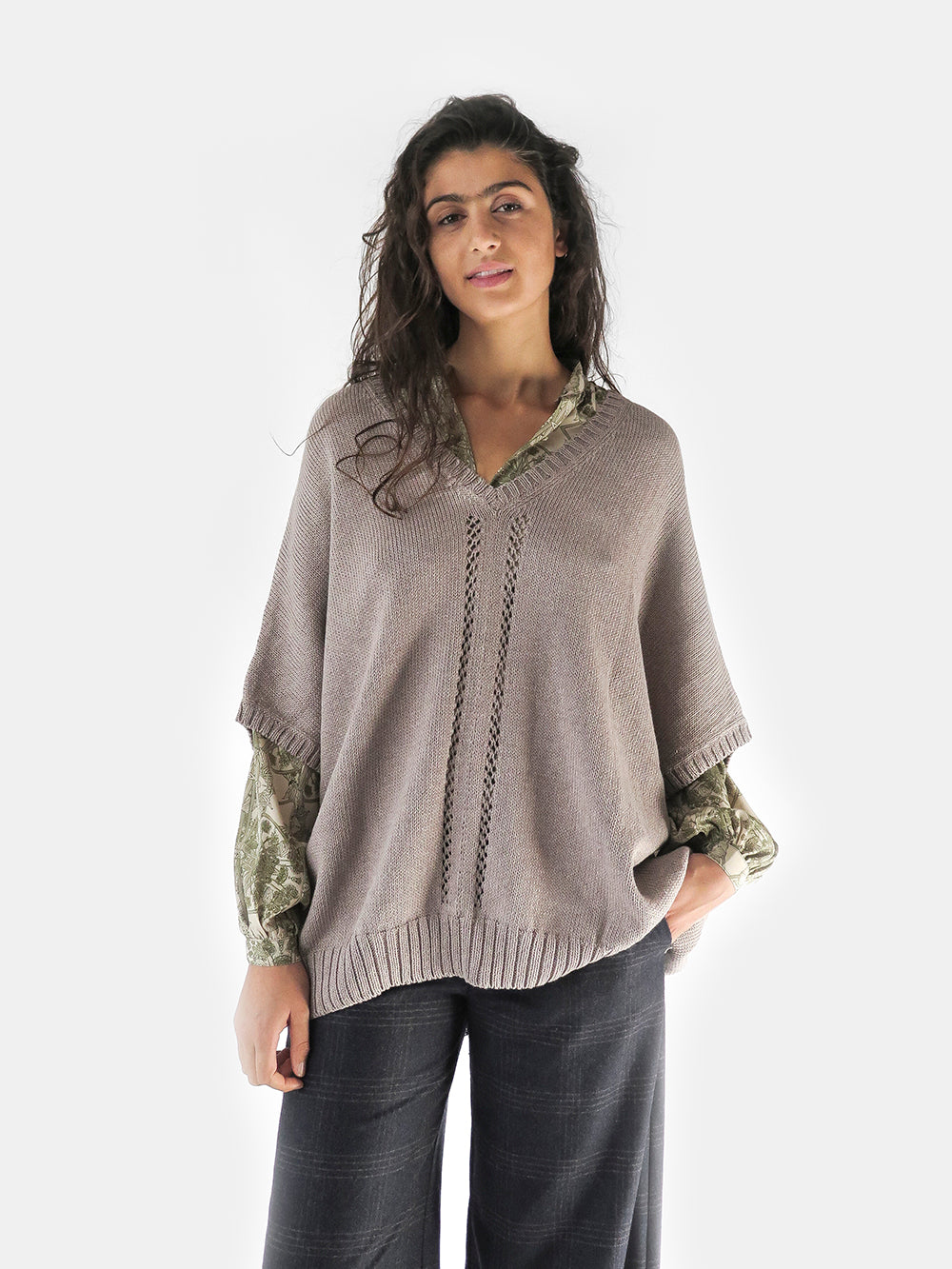 organic cotton v-neck dolma sleeve cocoon sweater