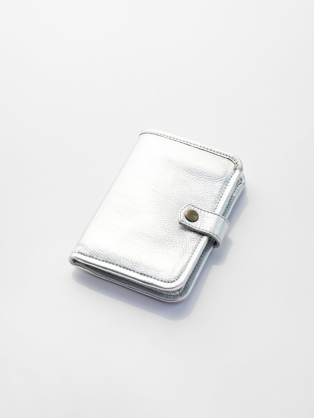 metallic leather wallet in silver