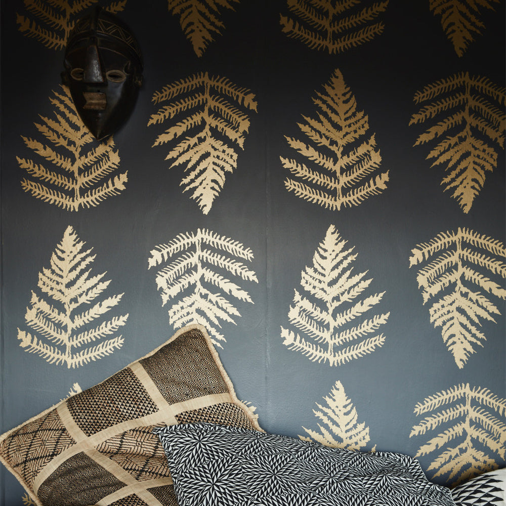 sample - fern wallpaper in charcoal + gold