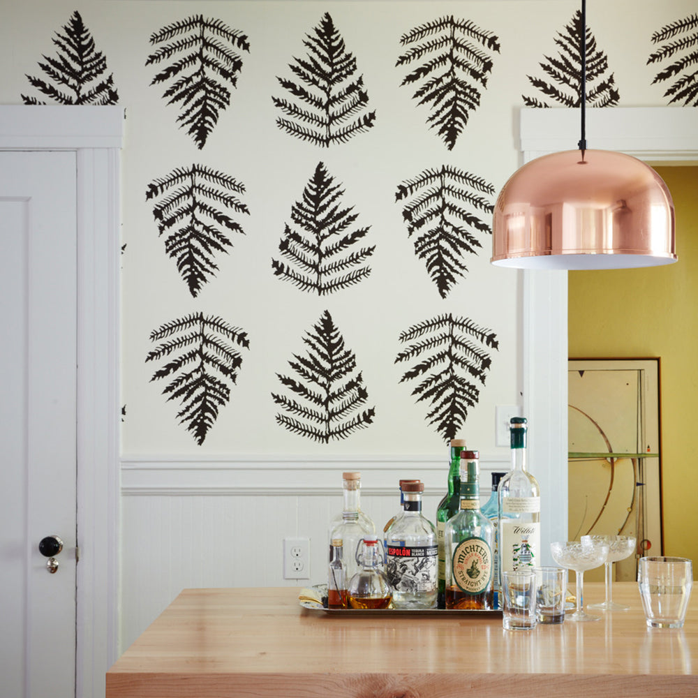 fern wallpaper in cream + chocolate