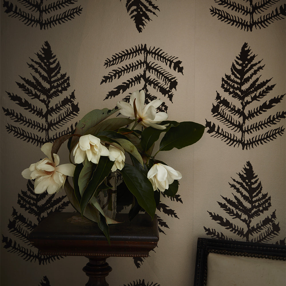 fern wallpaper in platinum + chocolate