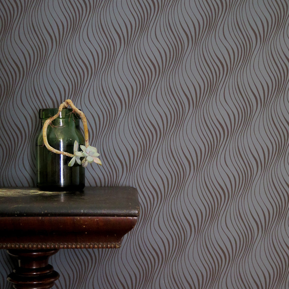 tendril wallpaper in charcoal + chocolate