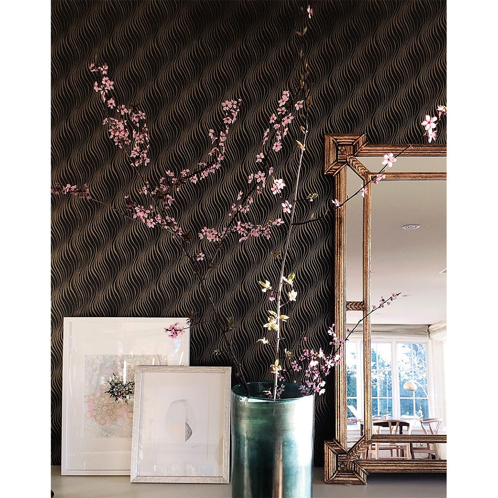 tendril wallpaper in charcoal + gold