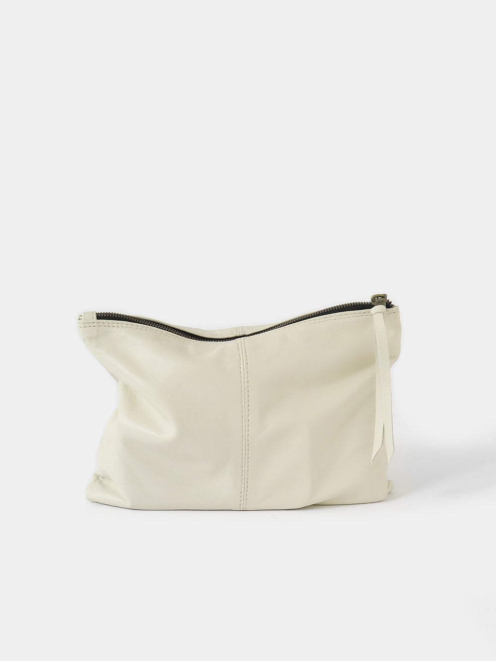 leather zip clutch in bone