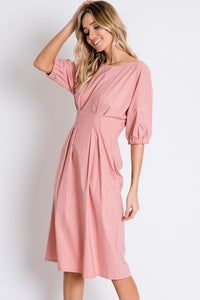 Pin-tuck Dress, Mauve