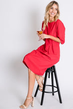 Pin-tuck Dress, Red