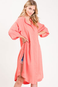 Button Shirt Dress, Coral