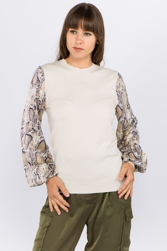 Snakeskin Satin Sweater