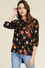 Button Back Floral Blouse