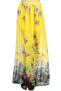 Floral Print Pleated Maxi Skirt