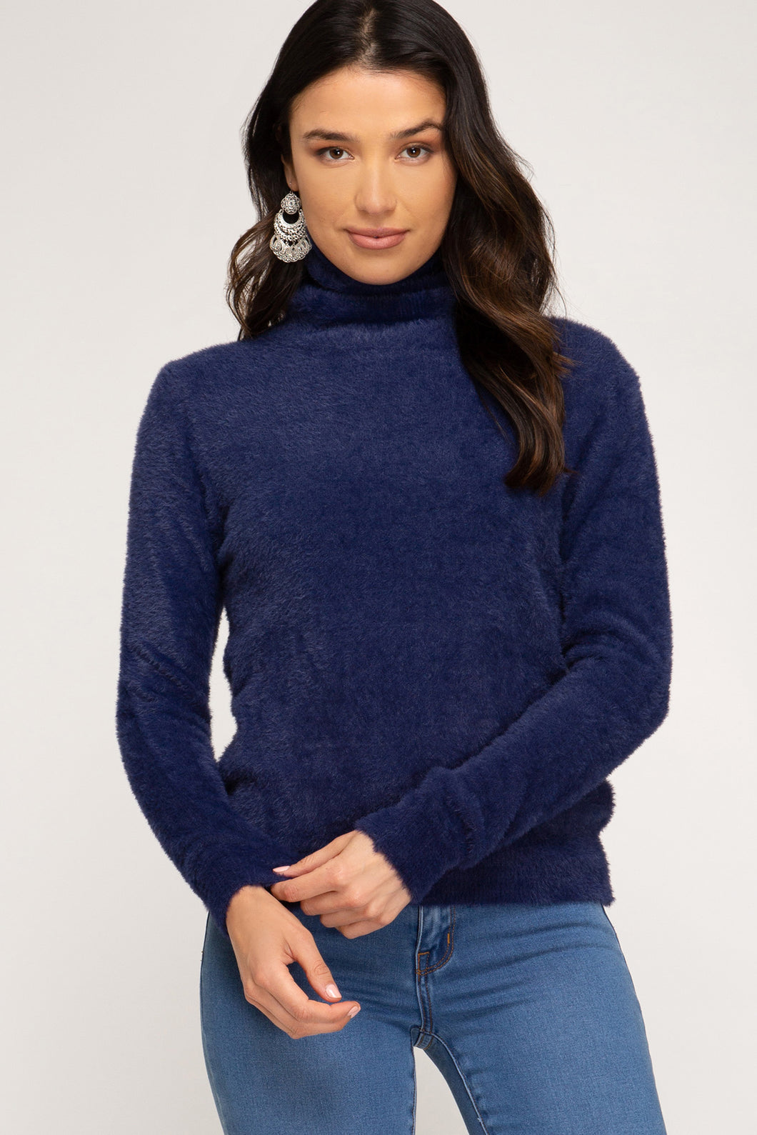 Fuzzy Knit Turtleneck, Navy