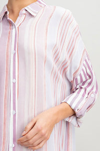 Stripe Shirt Dress, Pink
