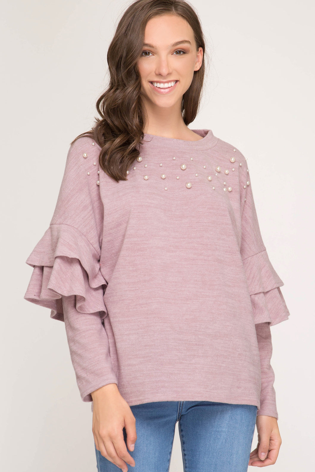 Double Ruffle Pearl Sweater