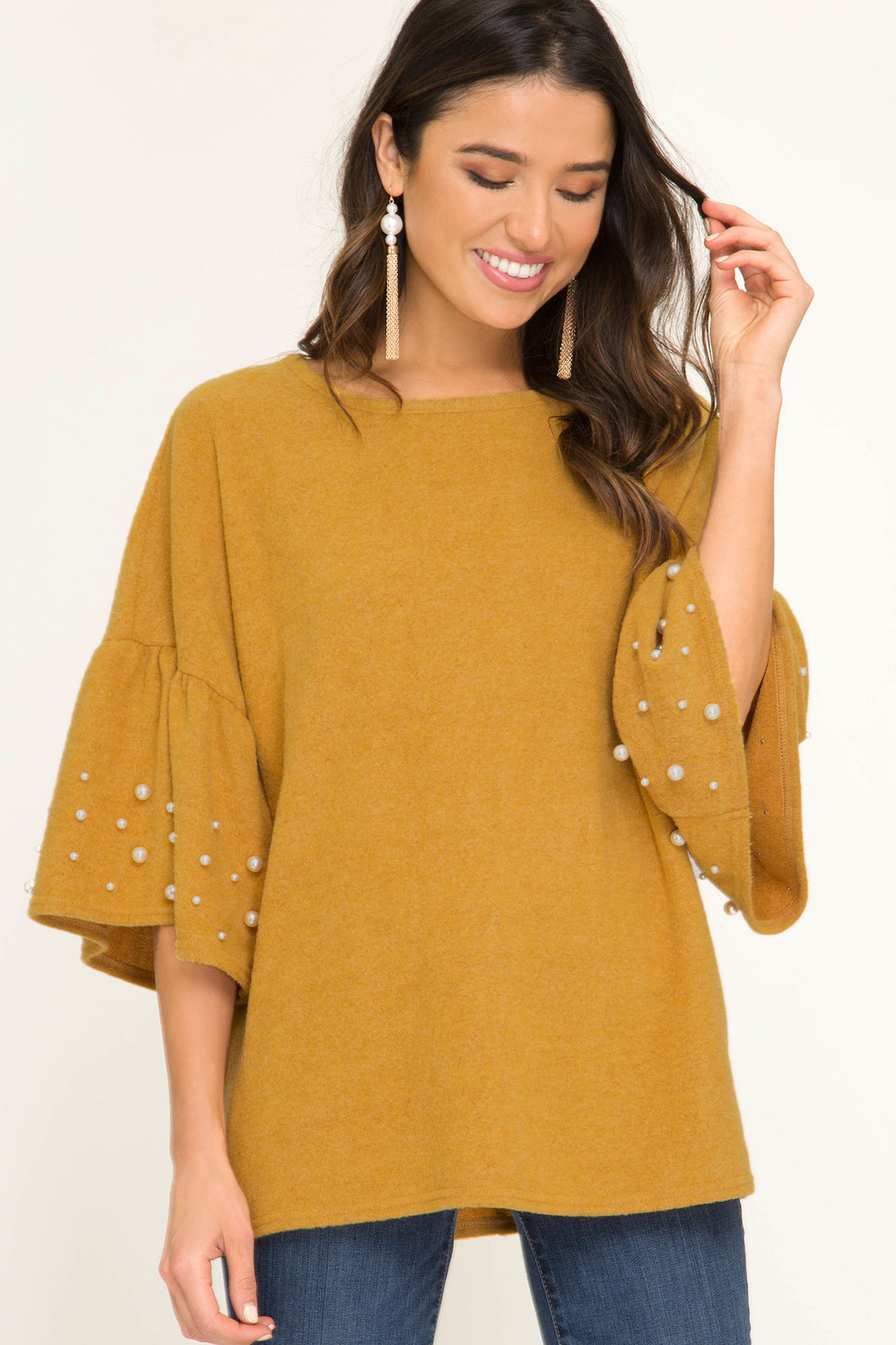 Ruffle Sleeve Top With Pearl Details