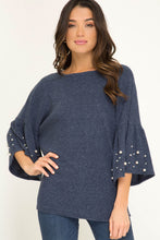 Ruffle Sleeve Top With Pearl Details, Navy