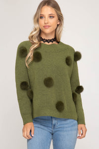 Fur Pom Pom Sweater, Olive